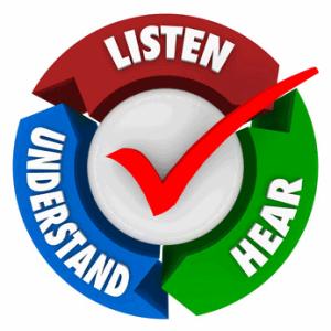 a sign that says listen, understand, hear