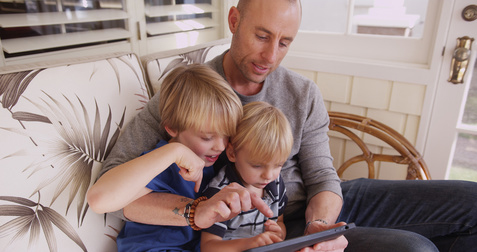 Father with his two sons. Paternity law and men's divorce.