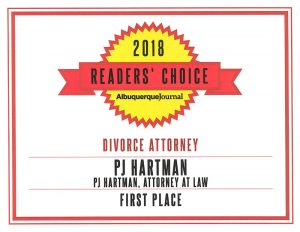 PJ Hartman is the proud recipient of the Albuquerque Journal's Readers' Choice Award for best Divorce Lawyer