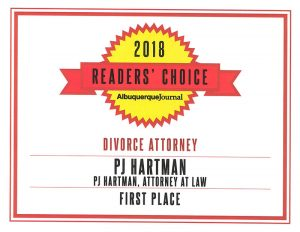 PJ Hartman is the proud recipient of the Albuquerque Journal's 2018 Reader's Choice Award for Best Family Law Attorney