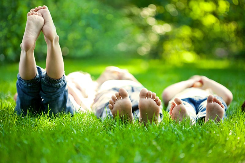 Children laying in the grass. child support in New Mexico